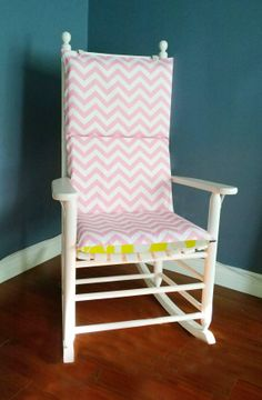 Rocking Chair Cushion   Pink  Brown Chevron by RockinCushions, $75.00