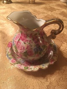 Vintage Royal Crown Hand Painted Rare #22/179 water pitcher and bowl miniature #RoyalCrown