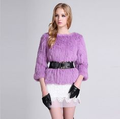 Real Rabbit Fur Coat Light Purple Pullover Design O Neck Natural Fur Coat For Women Fur, Fur Coat  Knitted Fast Shipping EMS $220.02