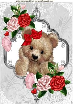 FUZZY BEAR WITH RED PINK ROSES BUTTERFLIES A4 on Craftsuprint - Add To Basket!