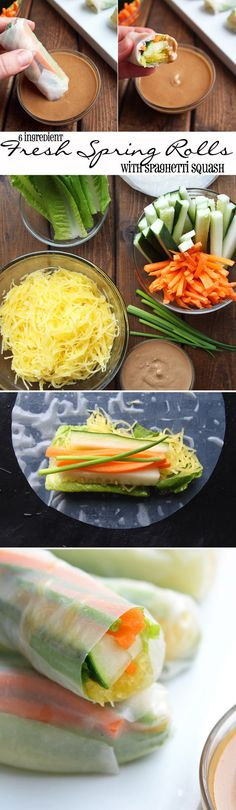 6 Ingredient Fresh Spring Rolls With Spaghetti Squash Glutenfree Vegetarian Vegan 5 Raw Food Recipes, Veggie Recipes, Asian Recipes, Cooking Recipes, Healthy Recipes, Vegan Vegetarian, Vegetarian Recipes, Vegetarian Spring Rolls, Vegan Spring Rolls