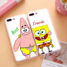 Smiling SpongeBob and Patrick Best Friends Case Soft TPU Silicon BFF Case For iPhone 6 6S 7 Plus 4 4S 5 5S SE 5C