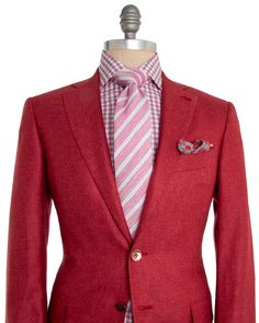 Isaia | Solid Red Sportcoat | Apparel | Men's