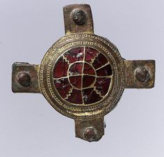 Cloisonné Strap Mount Date: first half 6th century Culture: Frankish Medium: Copper alloy, gilt (frame), gold central medallion with gold ... Dimensions: Overall: 2 7/16 x 2 7/16 x 3/8 in. (6.2 x 6.2 x 1 cm)