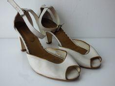 Escarpins cuir blanc et liseré bronze France Arno taille 41