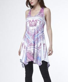 Look at this #zulilyfind! Purple Scarf Print Handkerchief Tunic - Women by Simply Couture #zulilyfinds