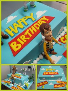 Simple toy story birthday cake idea_ love this idea for my kids' triple bday Fête Toy Story, Toy Story Cakes, Toy Story Party, 3rd Birthday Parties, Birthday Fun, Birthday Ideas, Birthday Cakes, Themed Parties, Toy Story Birthday Cake