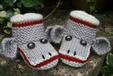 Sock Monkey Baby Booties Pattern. To purchase this pattern click: http://www.craftsy.com/ext/20130213_14_Knitting_2
