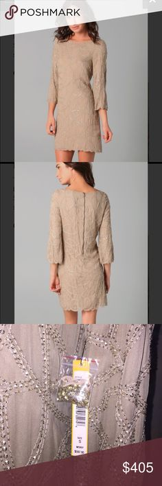 Alice + Olivia  Julissa Beaded Dress NWT This wide-neck silk-georgette dress features a beaded geometric pattern. Exposed back zip. Scalloped edges at hem and cuffs. 3/4 bell sleeves. Lined. Color: nude Alice + Olivia Dresses Midi