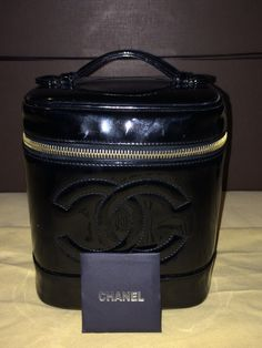 VINTAGE AUTHENTIC CHANEL Vanity Case Black Patton Leather by theluxeboutiqueus on Etsy