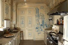 Thomas Britt. The entire kitchen (including fridge) is covered in chinoiserie mural.