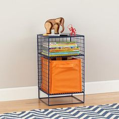 Navy On the Grid Nightstand in Bookcases   The Land of Nod