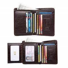Mens Retro Zip Wallet Solid Color Clutch Long Wallet Multi Card Wallet AfterSo