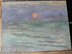 Tableau HSC Ostende  Coucher de soleil embrumé 1981 Maud GERARD (1915-2013)