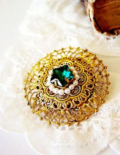 A Secret Wish - Antique Edwardian Gold Filigree Pin with Pearls and Emerald Green Glass Star