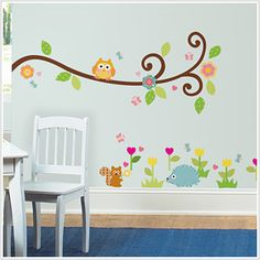 Owl Scroll Tree Branch Wall Decals for Kids Rooms - Owl Tree Branch themed Nursery - Owl Nursery Decor - Large Adhesive Owl Tree Branch Wall Decals for Nursery, Owl Theme Kid's Room or a Playroom Owl Wall Decals, Disney Wall Decals, Childrens Wall Stickers, Wall Murals, Owl Nursery Decor, Nursery Room, Kids Bedroom, Kids Rooms, Themed Nursery