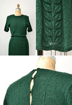 vintage 1930s green knit sweater dress with leaves