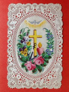 ANTIQUE HANDPAINTED HOLY CARD VIOLETS AND ROSES