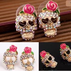 Pink rose skeleton skull ear earrings Nice earnings Jewelry Earrings