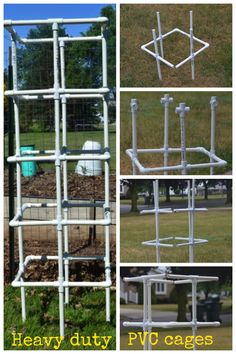 Easy to make pvc cages for all your vegetable needs. i.e. tomatoes, cucumbers, peas, beans, and eggplant