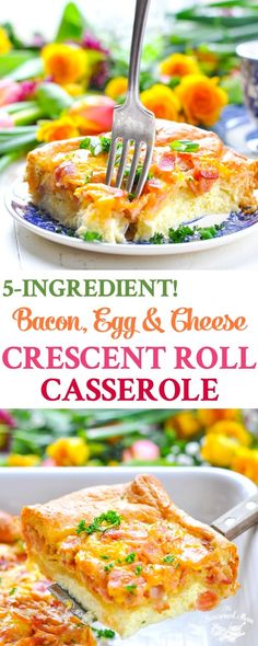 Pull together the ultimate brunch in about 10 minutes with this simple 5-Ingredient Bacon, Egg and Cheese Crescent Roll Casserole! Breakfast Casserole | Breakfast Ideas | Brunch Ideas | 5 Ingredient or Less Recipes #eggs #casserole #brunch #breakfast #5ingredients @Walmart #PillsburySpringBaking #ad #TheSeasonedMom