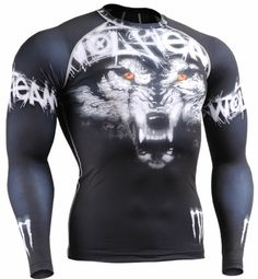 Fixgear Mens Womens MMA Running Wolf Printed Compression Shirt Long sleeve Black S ~ Moda Fitness, Skin Tight, Running Women, Workout Shirts, Hooded Sweatshirts, Long Sleeve Shirts, Shirt Designs, How To Wear, Clothes