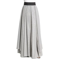 Brunello Cucinelli Skinny-Striped High-Waist Ball Skirt (2 589 AUD) ❤ liked on Polyvore featuring skirts, white pleated skirt, high waisted pleated skirt, pleated skirt, full skirt and long white skirt