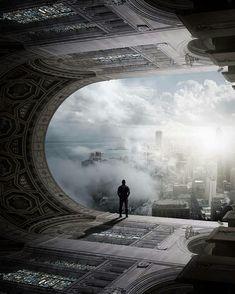 Cyberpunk City, Arte Cyberpunk, Futuristic City, Futuristic Architecture, Fantasy Places, Sci Fi Fantasy, Fantasy World, Fantasy Art Landscapes, Fantasy Landscape