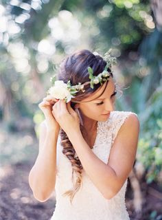 Loving this fishtail braid and floral headpiece combo!  Byron Bay wedding by Byron loves Fawn