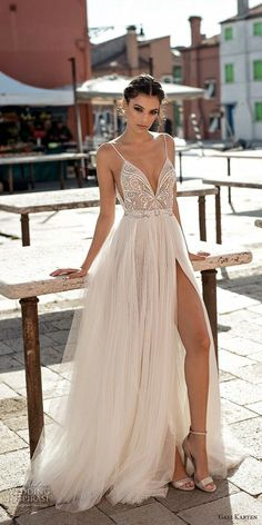 gali karten 2018 bridal spaghetti strap deep plunging sweetheart neckline heavily embellished bodice high slit skirt soft a line wedding dress open scoop back sweep train mv -- Gali Karten 2018 Wedding Dresses Source by evacharizani Dresses boho Dresses Elegant, Beautiful Dresses, Formal Dresses, Maxi Dresses, Matric Dance Dresses, Event Dresses, Beach Dresses, Long Dresses, Stunning Wedding Dresses