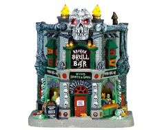 Halloween Broken Skull Bar # 75176 Lemax 2017 Spooky Town Lights Sounds * New Halloween Village, Halloween Decorations, Halloween Crafts, Halloween Ideas, Link Halloween, Halloween Candles, Halloween Stuff, Happy Halloween, Rooftop Lighting
