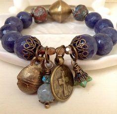 Denim Blue sapphire agate stretch bracelet ~ Ocean jasper ~ Antique brass hardware ~ Antique brass cross & Thai brass bell charm