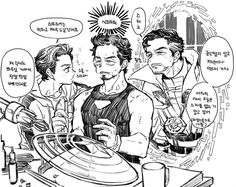 Idk what they are saying but the art is gold Marvel Fan Art, Marvel Dc Comics, Marvel Avengers, Tony Stark, Deadpool X Spiderman, Marvel Couples, Spideypool, Superfamily, Ironman