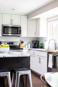 DIY Painted Kitchen Backsplash | ©GarrisonStreetDesignStudio | DIY | Kitchen | Painted | Backsplash | Kitchen Backsplash Ideas | Painted Kitchen Backsplash Ideas | How to paint backsplash tile | Painting Wall Tile | Paint Backsplash Tile before and after | Easy | Affordable | Budget | Tutorial | How to | Paint your Old Backsplash | Modern | Light | White | SW Nuance | Farmhouse | White Kitchen | Two Tone | Dark Island | Color Ideas | Design | Update | Makeover | Painted Tile | Tile