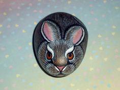 Wild rabbit Easter bunny Easter basket filler for spring garden, handmade and painted rock by RockArtiste, $30.00