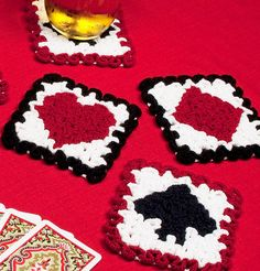 Crochet Coasters Pattern: Wiggly Playing by TheCrochetArchitect
