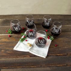 Personalized 21-ounce Stemless Wine Glasses (Set of 6) (X), Clear