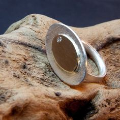 Sterling silver textured, shiny 9ct gold with small diamond ZMJewellery