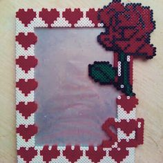 Hearts photo frame hama beads by natalia_rodrigo29