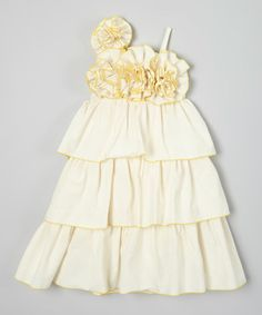 Look what I found on #zulily! Ivory & Yellow Tiered Floral Dress - Infant, Toddler & Girls #zulilyfinds
