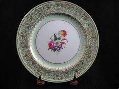 Paragon 10 1/4 inch Dinner Plate Mint Green with Gold Filigree Flower Bouquet by RuthiesCollectables on Etsy