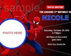 Digital (You print) Spiderman Birthday Invitations, Birthday Party Invitations, Disney Cars, Toy Story, Rsvp Wording, Superman Party, Album Bts, Thank You Tags, Lightning Mcqueen