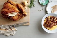 Roast chicken with polenta and mushroom ragout