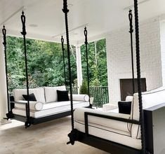 Indoor/Outdoor Swing: The Charlotte Swing Bed image 2 - House Plans, Home Plan Designs, Floor Plans and Blueprints Outdoor Patio Swing, Outdoor Spaces, Outdoor Beds, Indoor Outdoor Living, Indoor Swing, Outdoor Furniture, Furniture Ideas, Adirondack Furniture, Outdoor Fabric
