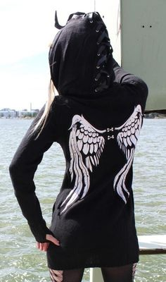 The Perfect Hoodie: from the laced up hood to the wings to the long sleeves and open holes for thumbs and fingers.