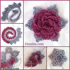 DIY 3D Crochet Rose in 3 Ways  tutorial and instruction. Follow us: www.facebook.com/fabartdiy