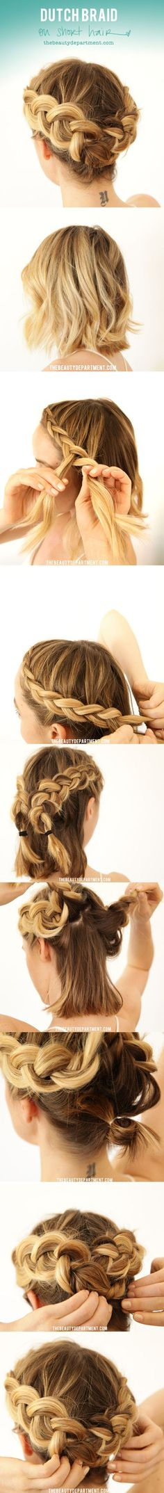 Dutch braid in short hair.