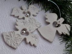 Easy Christmas Salt Dough For Christmas Decorations . ‎Make Your Own Salt Dough Christmas ‎Ornaments With Your Kids they are a super fun craft for the whole Salt Dough Christmas Decorations, Christmas Ornaments To Make, Christmas Angels, Handmade Christmas, Holiday Crafts, Christmas Christmas, Polymer Clay Ornaments, Dough Ornaments, Angel Ornaments