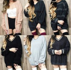Sweater: oversized sweater, oversized sweater, huge sweater, over the knee socks, over the knee, thigh highs, bralette, bralette, lace bralette, gorgeous, women, fashionista, fashionista, chill, rad, high waisted shorts, cardigan, charcoal, socks, hipster, style, style, stylish, trendy, trendy, trendy, cute, cool, tumblr outfit, tumblr sweater, tumblr, tumblr clothes, girl, knitwear, pretty, hairstyles, beautiful, clothes, on point clothing, dress - Wheretoget