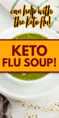 Are you struggling with the keto flu as a keto beginner or even advanced ketoer? If you are, you're going to want to try Keto Flu Soup! Don't let its green hue fool you - it is incredibly cheesy and delicious! This keto cheese soup is accented with keto vegetables and seasonings for a delicious flavor and nutrients that will help you with the keto flu. Great for a keto dinner or even low carb dinner. Keto recipe and low carb recipe. Healthy Low Carb Recipes, Low Carb Dinner Recipes, High Protein Recipes, Keto Recipes, Keto Cheese, Cheese Soup, Whole Food Recipes, Soup Recipes, Keto Beginner